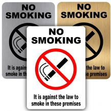 No Smoking-It is Against The Law to Smoke in these Premises-150mmx100mm-Aluminium Metal Sign-Notice